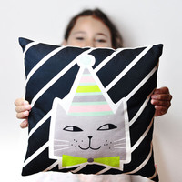 decorative throw pillow for kids room with kitten in black and white stripes, gray and lime - 12 inch / 30 cm