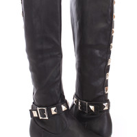 Black Studded Riding Boots Faux Leather