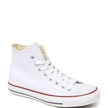 Converse All Star White Leather Sneakers - Womens Shoes - White