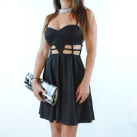 (anr) Cage skater black dress