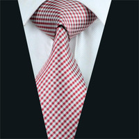 Men Tie Red Plaid Neck Tie Silk Jacquard Ties For Men Business Wedding Party