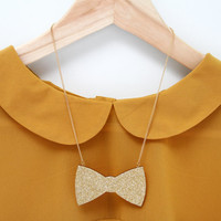 Laser Cut Wooden Glittery Bow Necklace
