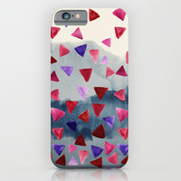 Geo Storm - painted triangles on a watercolor background iPhone & iPod Case by TigaTiga Artworks