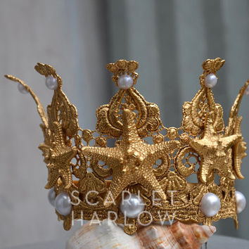 Mermaid Crown/Tiara - gold.  Costume - photoshoot - cosplay - fantasy - mermaid party - beach - rave - starfish - pageant.