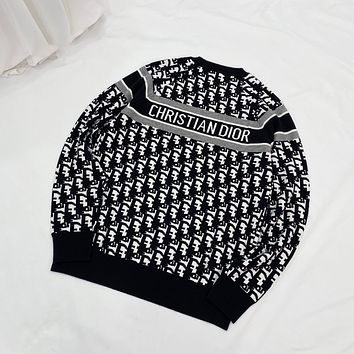 Dior classic double-sided full jacquard crew neck sweater