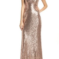 Morgan & Co. Keyhole Back Sequin Gown | Nordstrom