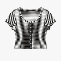 Striped Button Front Crop Tee Shirt