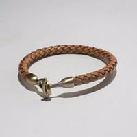 Tan Woven Clasp Genuine Leather Bracelet