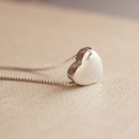 925 Sterling Silver tiny heart necklace,simple silver necklace