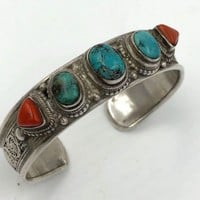 Vintage Asian Sterling Silver Coral Turquoise Cuff Bracelet