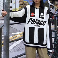 """Palace"" Unisex Retro Multicolor Stripe Letter Long Sleeve Oversize Sweater Couple All-match Street Casual Tops"