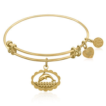 Expandable Bangle in Yellow Tone Brass with Dolphin Be In Touch Symbol