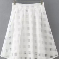 White Plaid Organza Skirt