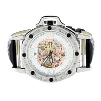 Mens Diamond Watch Black Leather Band Mechanical Rose Dial