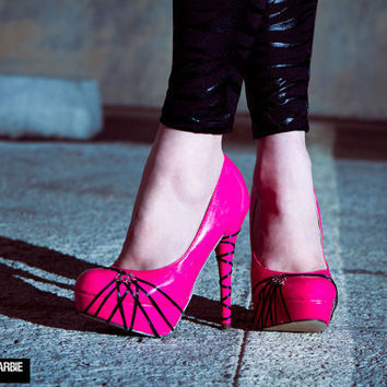 Brass Knuckle Barbie Pink High Heel Shoe by SweetSinCouture