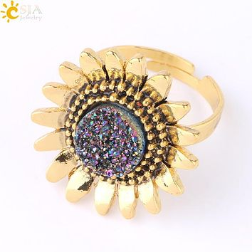 CSJA Natural Stone Druzy Rings for Girls Lady 2019 Gold Color Alloy Sunflower Flower Adjustable Ring Trendy Wedding Jewelry F761