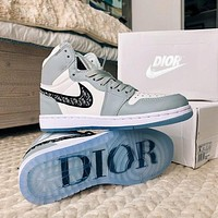 Dior x Nike AIR Jordan 1 AJ 1 sports casual shoes men and women's shoes student low-high-top shoes