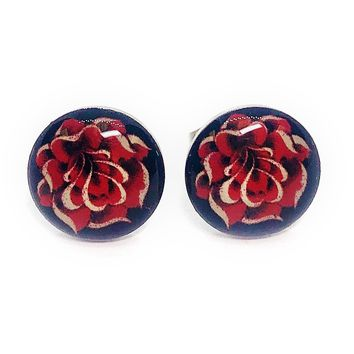 Gold Rose Enamel Button Stud Earrings