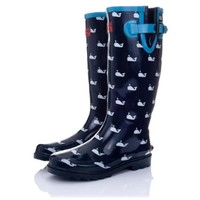 Funky Flat Wellie Wellington Festival Rain Boots - Assorted Colours UK4 - EU37 - US6 - AU5 Whale