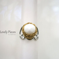 Adjustable Statement Ring, White Bead Ring, Gold Silver Ring, Handmade Jewelry, Cocktail Ring