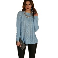 Sale-feeling Blue Cable Knit Sweater