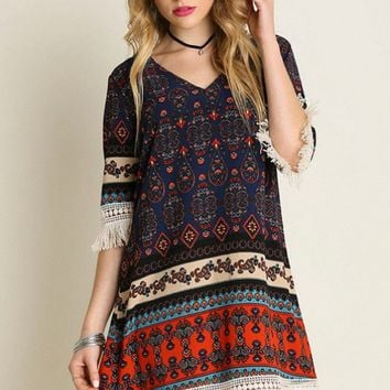 Dress - Boho Festival Fringe Tribal Print Dress