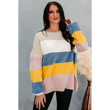 Home For The Holidays Oversized Multi-Stripe Sweater (Mustard Multi)