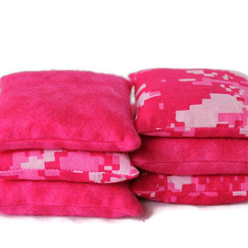 Bean Bags Bright Pink Camouflage & Hot Pink Flannel Cotton ACU Children's Toy 3 Inch Square Rice-Filled (set of 6) - US Shipping Included
