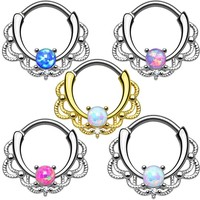 LINOSIR 2017 Fashion 100% G23 Titanium Fake Nose Septum Piercing 1.2mm Opal Gem Septum Nose Stud Rings Piercing Body Jewelry
