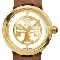Women's Tory Burch 'Reva' Leather Strap Watch, 36mm - Luggage/ Gold
