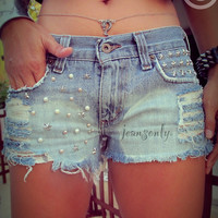 Galaxy pearl jeans shorts,Vintage midrise ombre studded denim shorts by Jeansonly