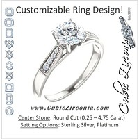 Cubic Zirconia Engagement Ring- The Ivana (Customizable 9-stone Vintage Design with Round Cut Center and Round Band Accents)