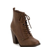Taupe Lace Up Combat Booties