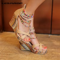 Brand New Women's Shoes Bohemian High Heel Wedge Sandals Fashion Color Beaded Chain Thick Crust Muffin Sandals Shoes Pumps #1341