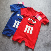 Choice of Blue or Red M Candy Onesuit Baby Rompers
