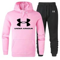 Under Armour 2019 new cotton men and women long-sleeved sweater sports suit two-piece pink
