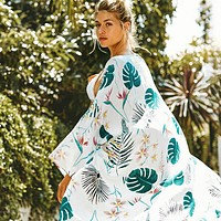 New Women Green Leaf Print Chiffon Printed Beach Skirt Cardigan Seaside Vacation Long Skirt Sunscreen Shirt Swimsuit Cover Top