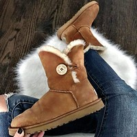 UGG autumn and winter new plush snow boots classic buttons medium tube solid color cowhide shoes for men and women cotton shoes