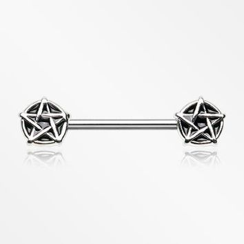 A Pair of Pentagram Stars Nipple Barbell