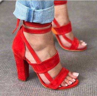 Image of Strappy Fashion Women Sandals High Heels Shoes