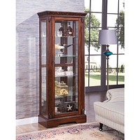 Wooden Curio Cabinet with Glass Door, Cherry Brown By Casagear Home