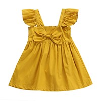 Summer born Infant Kids Baby Girls Clothes bow-knot Princess Dresses Party Bow Summer Mini Dress