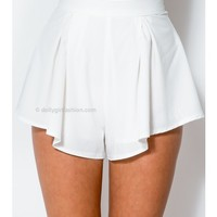 Chambray Shorts - White - SHORTS - BOTTOMS - WHAT'S NEW