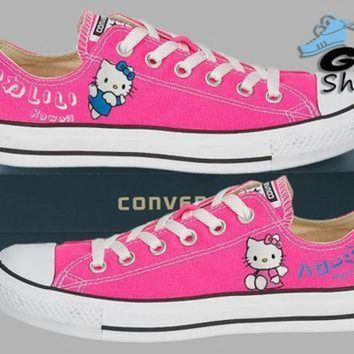 DCCK1IN hand painted converse lo hello kitty sanrio anime kawaii pink handpainted shoes