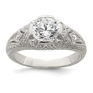 Sterling Silver CZ Antique Inspired Ring