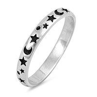 Sterling Silver Moons and Stars Ring 3MM