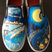 Nightmare Before Christmas Halloween Town/Christmas Town Men's Shoes, Birthday Gifts, Custom Designed