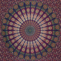 Multicolor Bird Wings Psychedelic Bohemian Hippie Indian Tapestry Bedspread - RoyalFurnish.com