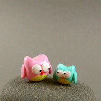 Mommy And Baby Owl Set - Hand Sculpted Miniature Polymer Clay Animal