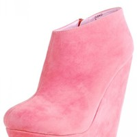Make Me Chic Disko Coral Suede Wedge Platform Ankle Booties and Shop Boots at MakeMeChic.com